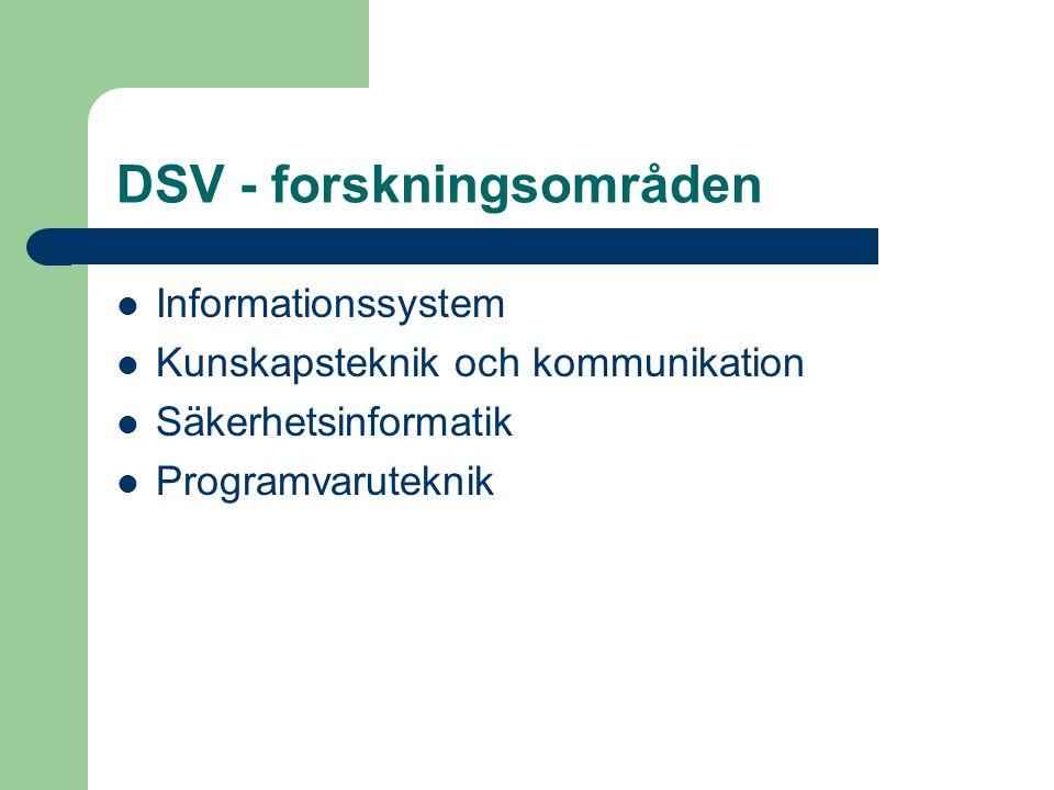 DSV - forskningsområden Informationssystem Kunskapsteknik och kommunikation Säkerhetsinformatik Programvaruteknik