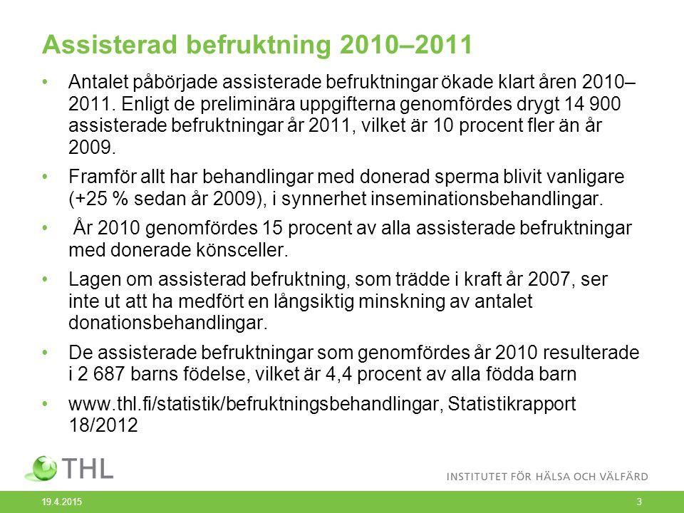 Assisterad befruktning 2010–2011 Antalet påbörjade assisterade befruktningar ökade klart åren 2010– 2011.
