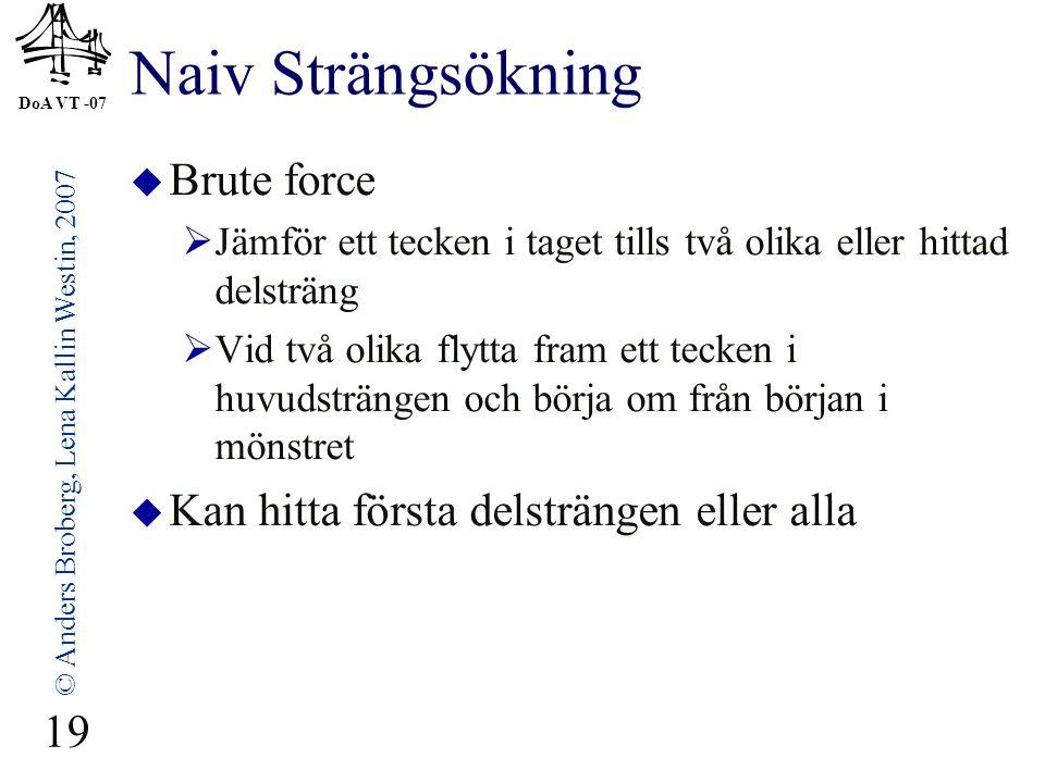 DoA VT -07 © Anders Broberg, Lena Kallin Westin, 2007 19 Naiv Strängsökning  Brute force  Jämför ett tecken i taget tills två olika eller hittad del