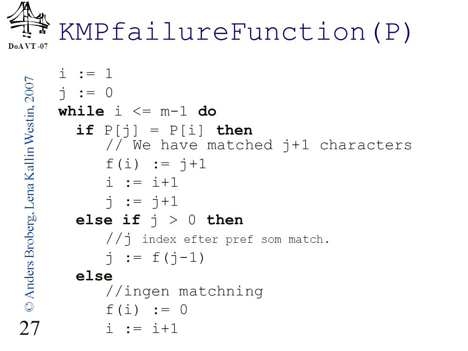 DoA VT -07 © Anders Broberg, Lena Kallin Westin, 2007 27 KMPfailureFunction(P) i := 1 j := 0 while i <= m-1 do if P[j] = P[i] then // We have matched j+1 characters f(i) := j+1 i := i+1 j := j+1 else if j > 0 then //j index efter pref som match.