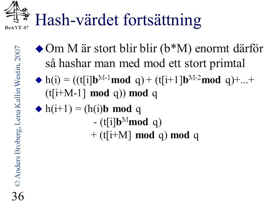 DoA VT -07 © Anders Broberg, Lena Kallin Westin, 2007 36 Hash-värdet fortsättning  Om M är stort blir blir (b*M) enormt därför så hashar man med mod ett stort primtal  h(i) = ((t[i]b M-1 mod q) + (t[i+1]b M-2 mod q)+...+ (t[i+M-1] mod q)) mod q  h(i+1) = (h(i)b mod q - (t[i]b M mod q) + (t[i+M] mod q) mod q