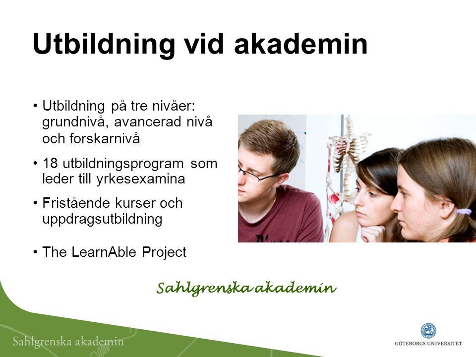 Utbildning på tre nivåer: grundnivå, avancerad nivå och forskarnivå 18 utbildningsprogram som leder till yrkesexamina Fristående kurser och uppdragsut