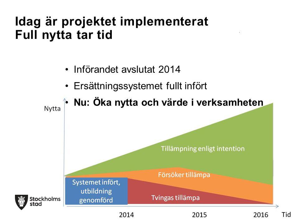 Införandet avslutat 2014 Ersättningssystemet fullt infört Nu: Öka nytta och värde i verksamheten Idag är projektet implementerat Full nytta tar tid
