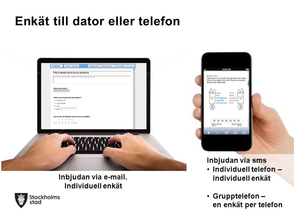 Enkät till dator eller telefon Inbjudan via sms Individuell telefon – individuell enkät Grupptelefon – en enkät per telefon Inbjudan via e-mail. Indiv