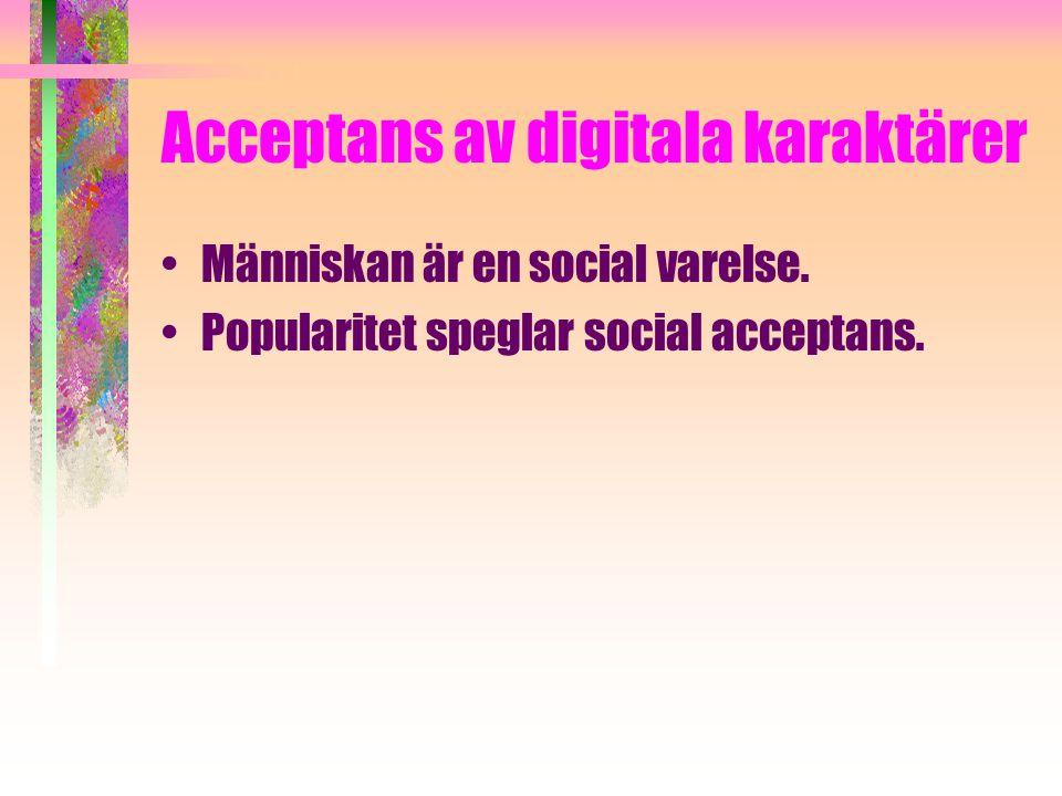 Acceptans av digitala karaktärer Människan är en social varelse. Popularitet speglar social acceptans.