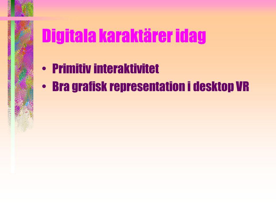Digitala karaktärer idag Primitiv interaktivitet Bra grafisk representation i desktop VR