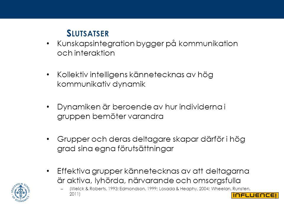 S LUTSATSER Kunskapsintegration bygger på kommunikation och interaktion Kollektiv intelligens kännetecknas av hög kommunikativ dynamik Dynamiken är be