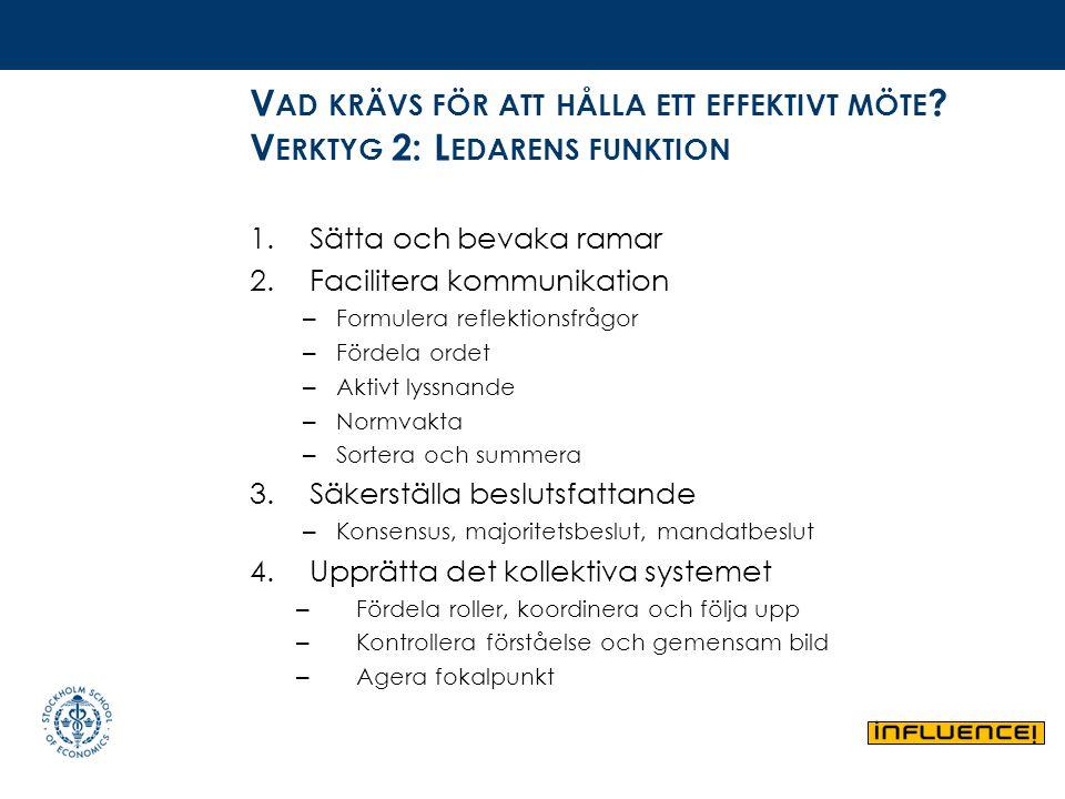 V AD KRÄVS FÖR ATT HÅLLA ETT EFFEKTIVT MÖTE ? V ERKTYG 2: L EDARENS FUNKTION 1.Sätta och bevaka ramar 2.Facilitera kommunikation – Formulera reflektio