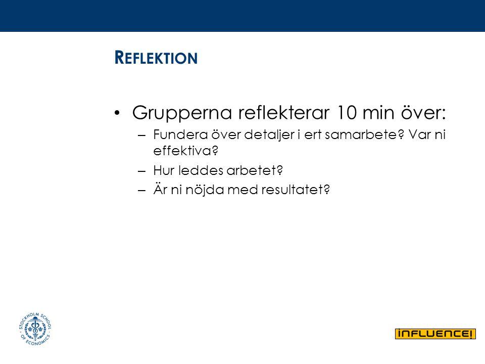 R EFLEKTION Grupperna reflekterar 10 min över: – Fundera över detaljer i ert samarbete? Var ni effektiva? – Hur leddes arbetet? – Är ni nöjda med resu