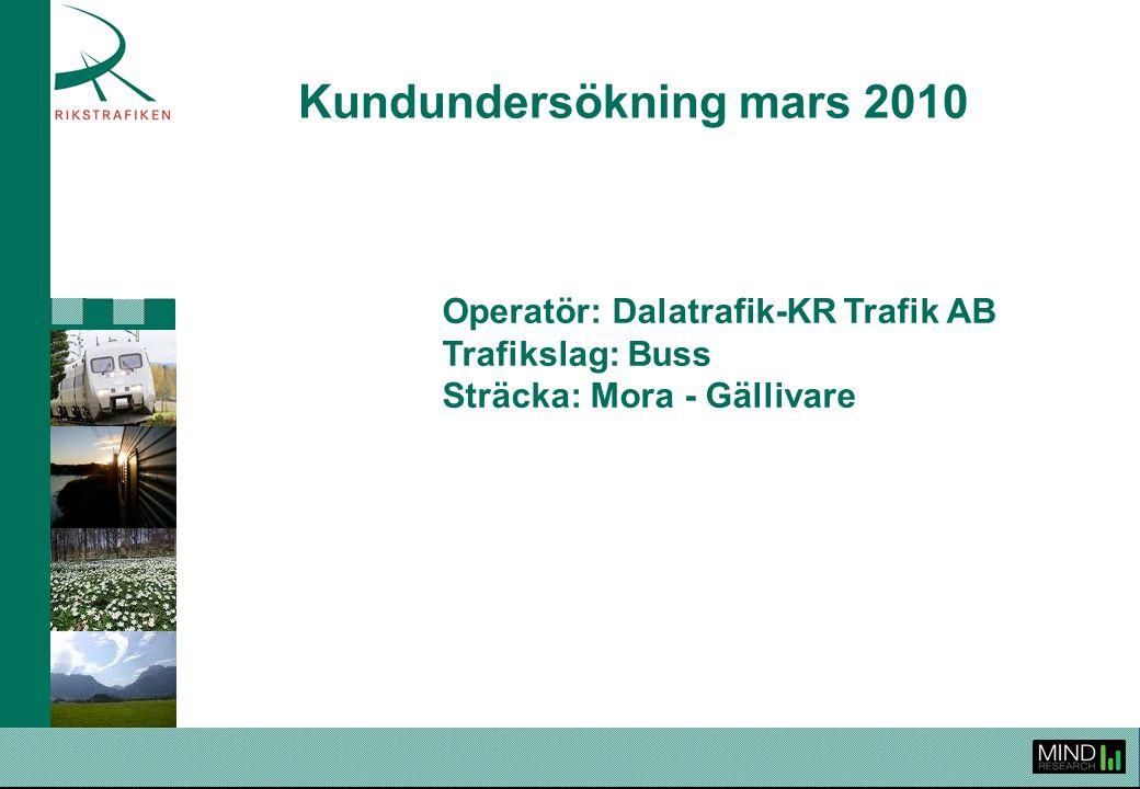 Kundundersökning mars 2010 Operatör: Dalatrafik-KR Trafik AB Trafikslag: Buss Sträcka: Mora - Gällivare