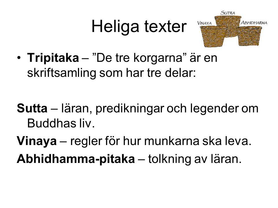 """Heliga texter Tripitaka – """"De tre korgarna"""" är en skriftsamling som har tre delar: Sutta – läran, predikningar och legender om Buddhas liv. Vinaya – r"""