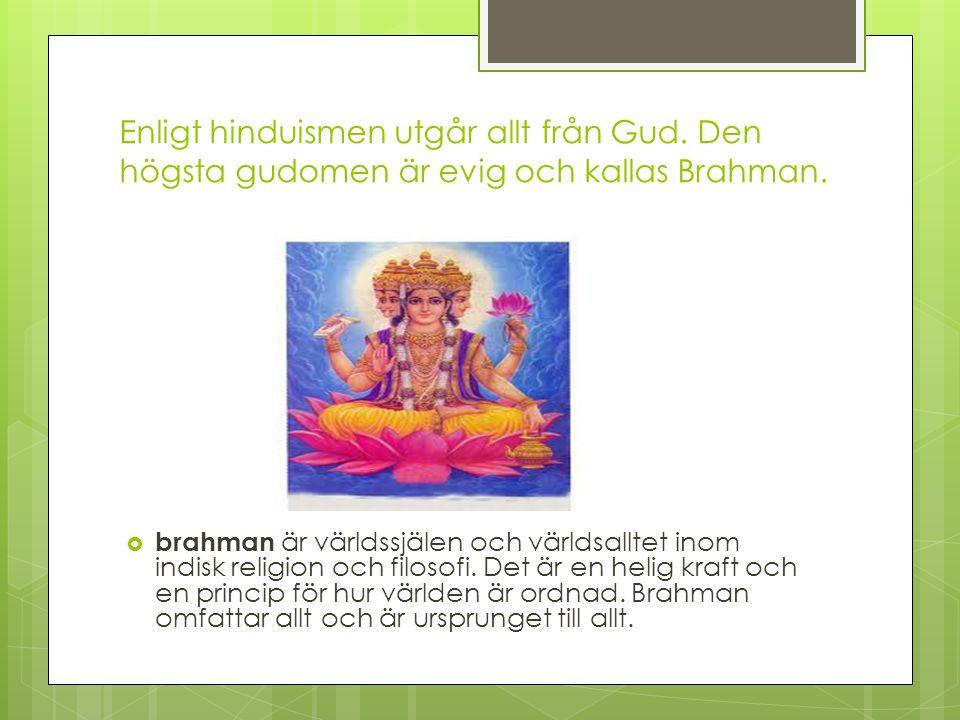 Enligt hinduismen utgår allt från Gud. Den högsta gudomen är evig och kallas Brahman.  brahman är världssjälen och världsalltet inom indisk religion