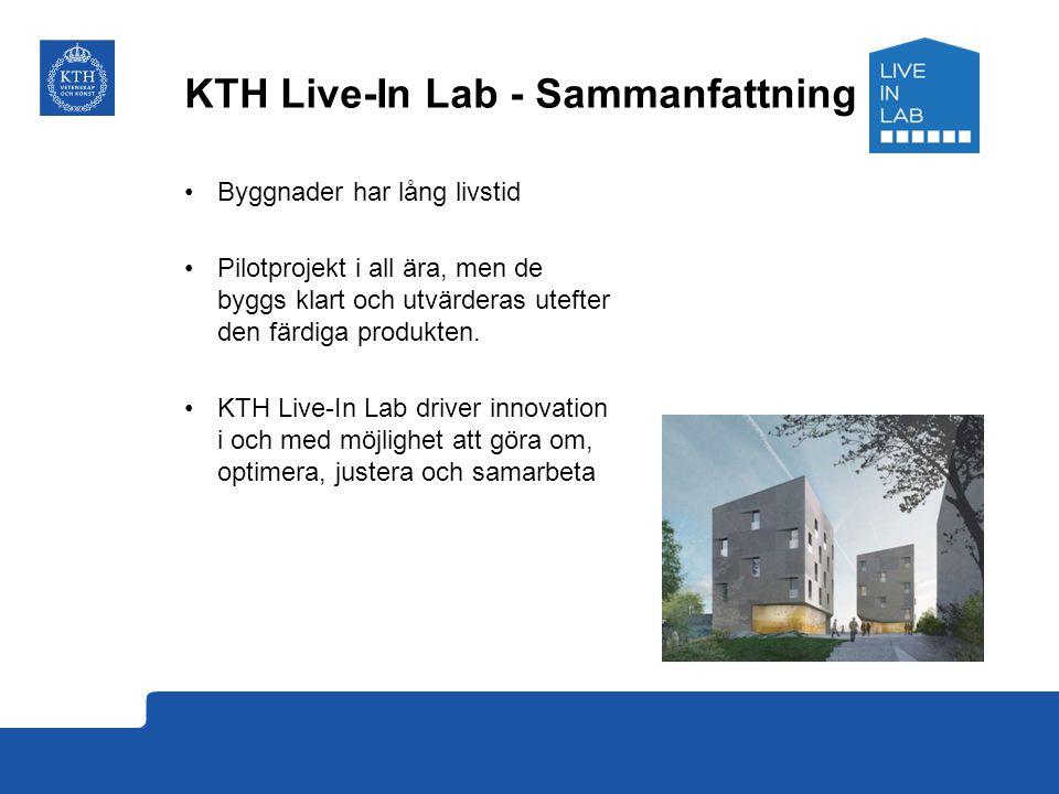 KTH Live-In Lab - Sammanfattning Byggnader har lång livstid Pilotprojekt i all ära, men de byggs klart och utvärderas utefter den färdiga produkten. K