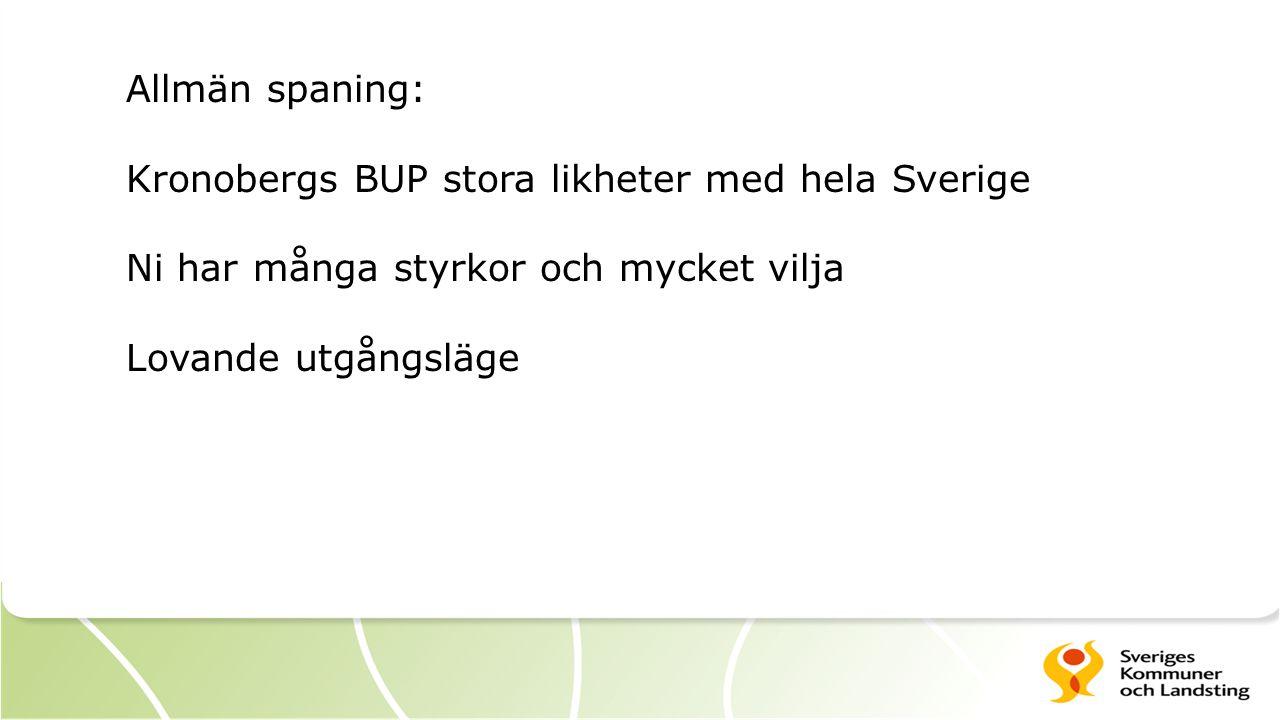Allmän spaning: Kronobergs BUP stora likheter med hela Sverige Ni har många styrkor och mycket vilja Lovande utgångsläge