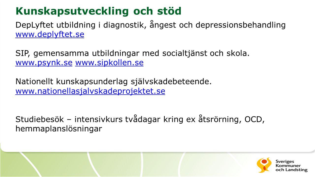 Kunskapsutveckling och stöd DepLyftet utbildning i diagnostik, ångest och depressionsbehandling www.deplyftet.se SIP, gemensamma utbildningar med soci