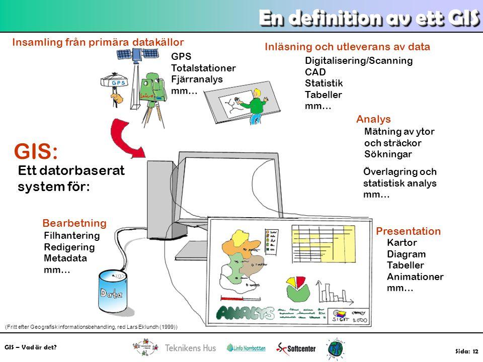 GIS – Vad är det? Sida: 12 En definition av ett GIS GIS: Ett datorbaserat system för: Insamling från primära datakällor GPS Totalstationer Fjärranalys