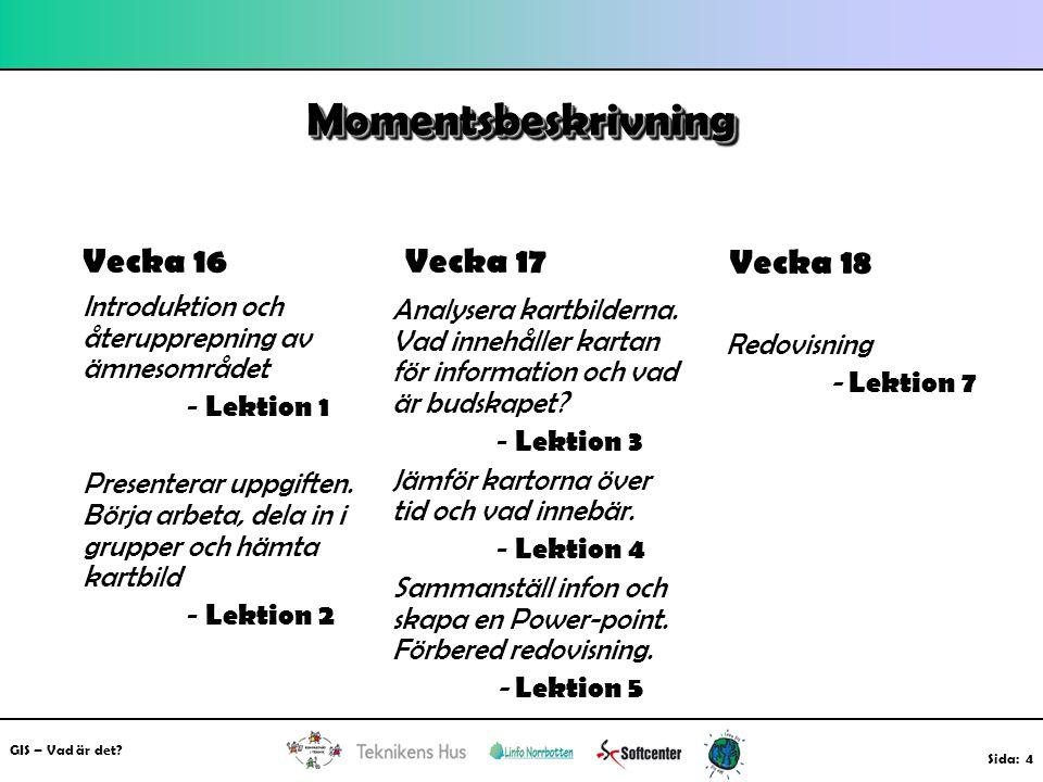 MomentsbeskrivningMomentsbeskrivning Vecka 16 Introduktion och återupprepning av ämnesområdet - Lektion 1 Presenterar uppgiften. Börja arbeta, dela in