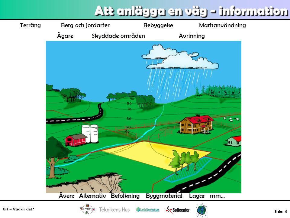 GIS – Vad är det? Sida: 9 Att anlägga en väg - information Terräng Berg och jordarter Bebyggelse Markanvändning Ägare Skyddade områden Avrinning Även: