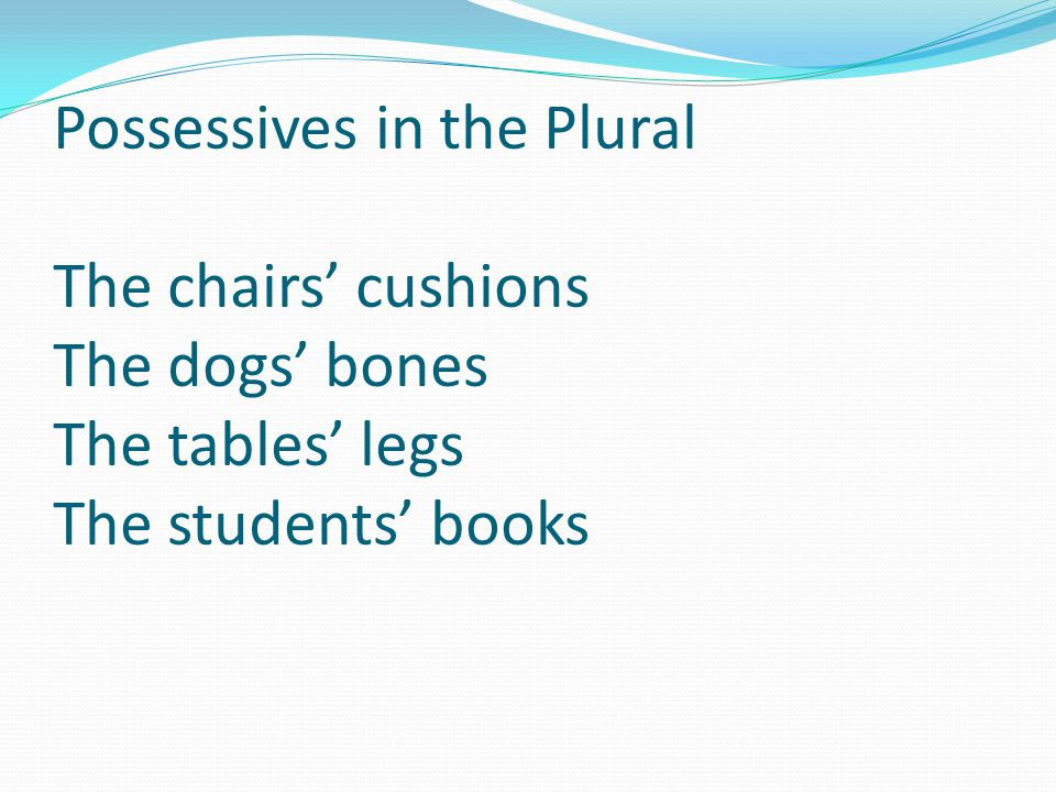 Possessives in the Plural The chairs' cushions The dogs' bones The tables' legs The students' books