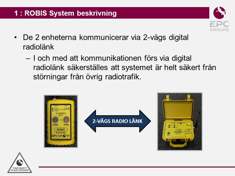 1 : ROBIS System beskrivning De 2 enheterna kommunicerar via 2-vägs digital radiolänk –I och med att kommunikationen förs via digital radiolänk säkers