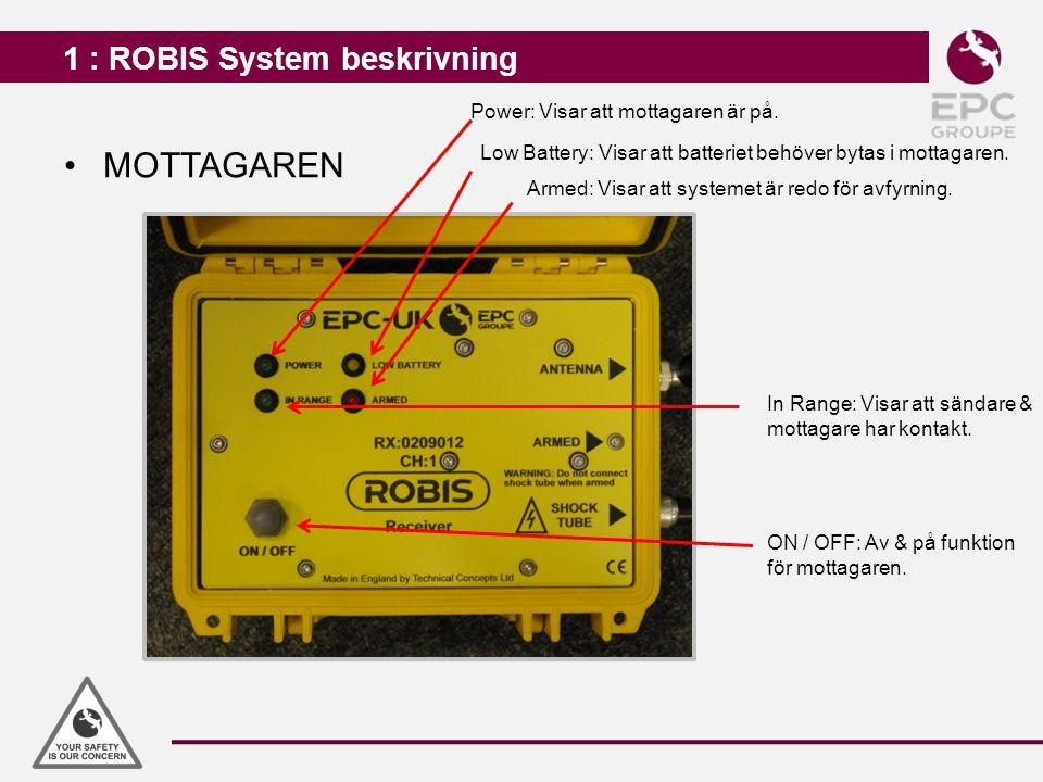 1 : ROBIS System beskrivning MOTTAGAREN Power: Visar att mottagaren är på. Low Battery: Visar att batteriet behöver bytas i mottagaren. Armed: Visar a