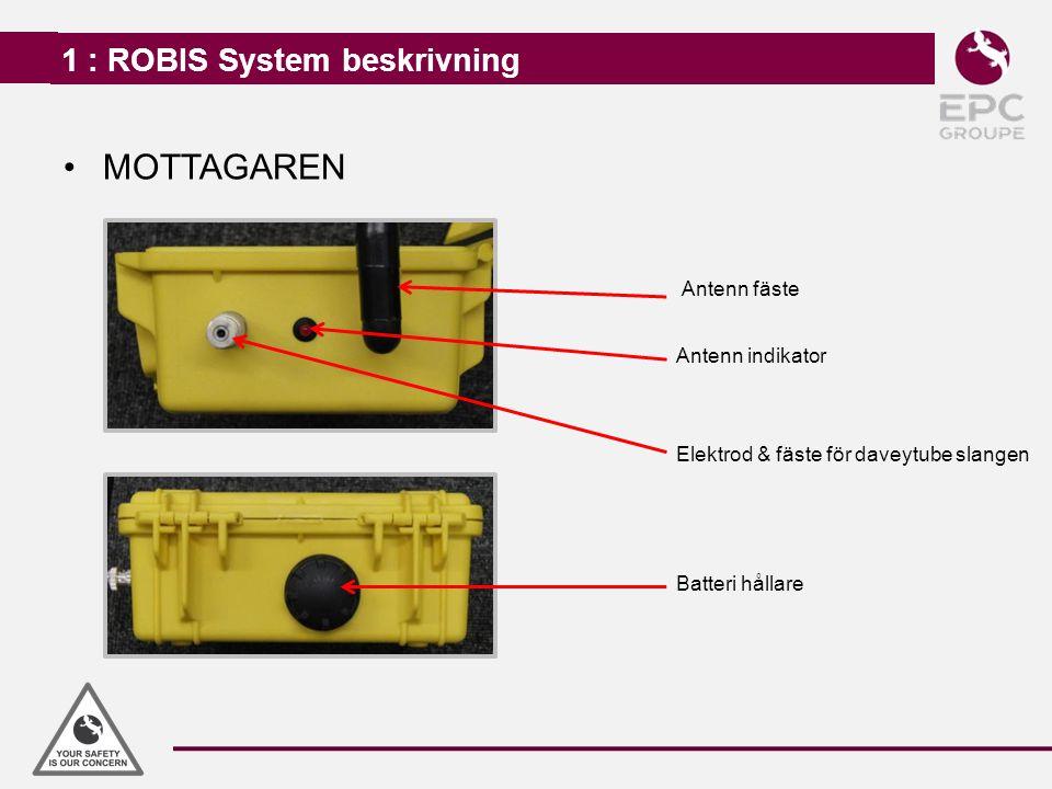 1 : ROBIS System beskrivning MOTTAGAREN Antenn fäste Elektrod & fäste för daveytube slangen Batteri hållare Antenn indikator