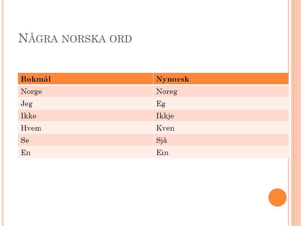 N ÅGRA NORSKA ORD BokmålNynorsk NorgeNoreg JegEg IkkeIkkje HvemKven SeSjå EnEin