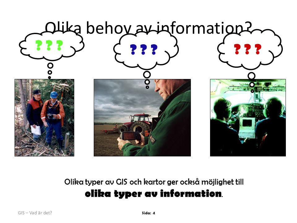 GIS – Vad är det.Sida: 4 Olika behov av information.