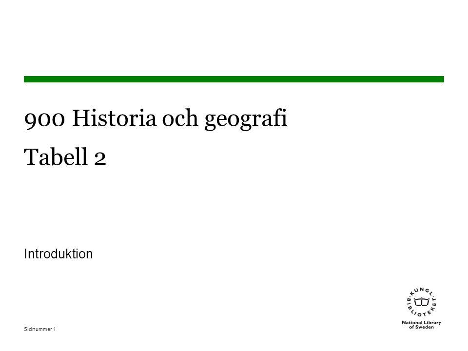 Sidnummer1 900 Historia och geografi Tabell 2 Introduktion