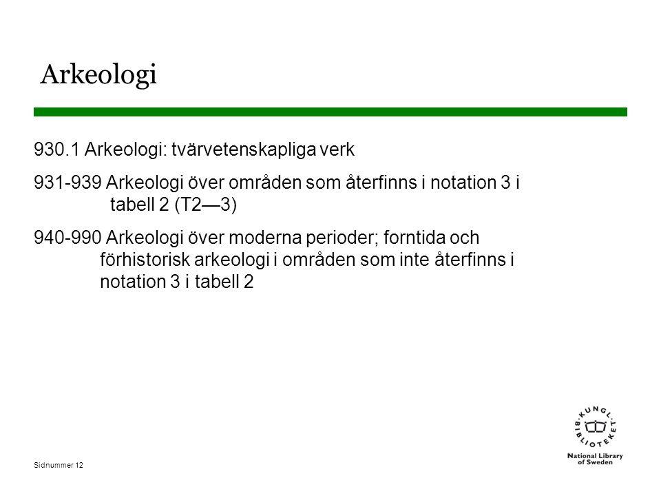 Sidnummer 12 Arkeologi 930.1 Arkeologi: tvärvetenskapliga verk 931-939 Arkeologi över områden som återfinns i notation 3 i tabell 2 (T2—3) 940-990 Arkeologi över moderna perioder; forntida och förhistorisk arkeologi i områden som inte återfinns i notation 3 i tabell 2