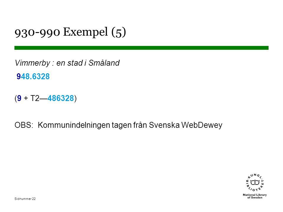 Sidnummer 22 930-990 Exempel (5) Vimmerby : en stad i Småland 948.6328 (9 + T2—486328) OBS: Kommunindelningen tagen från Svenska WebDewey
