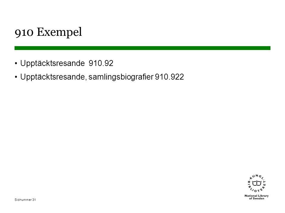 Sidnummer 31 910 Exempel Upptäcktsresande 910.92 Upptäcktsresande, samlingsbiografier 910.922