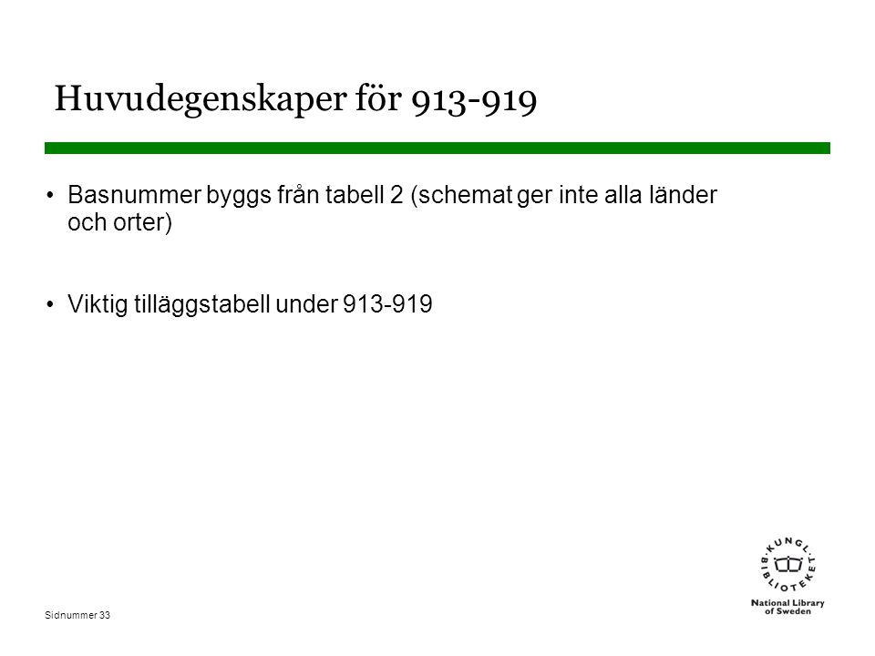 Sidnummer 33 Huvudegenskaper för 913-919 Basnummer byggs från tabell 2 (schemat ger inte alla länder och orter) Viktig tilläggstabell under 913-919