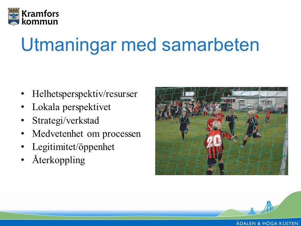 Utmaningar med samarbeten Helhetsperspektiv/resurser Lokala perspektivet Strategi/verkstad Medvetenhet om processen Legitimitet/öppenhet Återkoppling