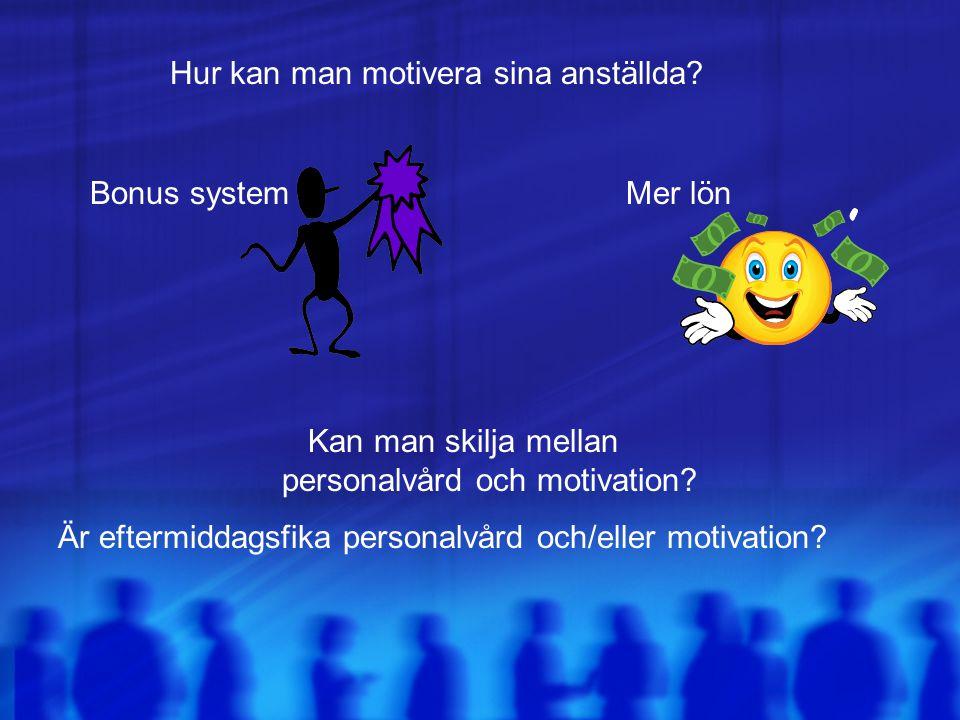 Bonus systemMer lön Kan man skilja mellan personalvård och motivation? Hur kan man motivera sina anställda? Är eftermiddagsfika personalvård och/eller