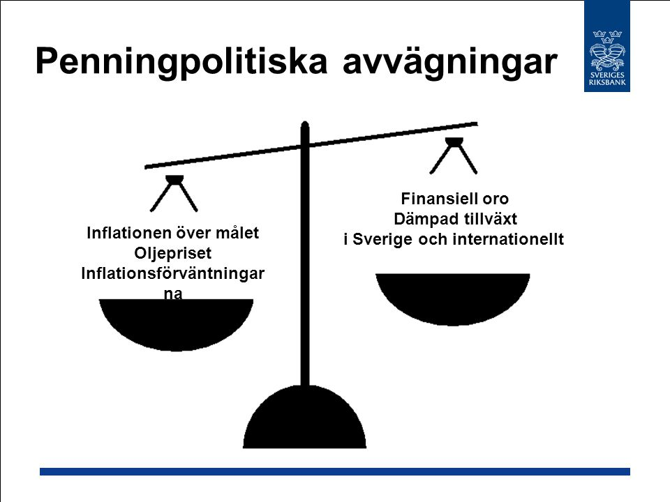 Penningpolitiska avvägningar Inflationen över målet Oljepriset Inflationsförväntningar na Finansiell oro Dämpad tillväxt i Sverige och internationellt