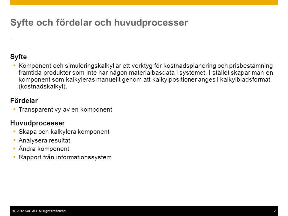 ©2012 SAP AG. All rights reserved.2 Syfte och fördelar och huvudprocesser Syfte  Komponent och simuleringskalkyl är ett verktyg för kostnadsplanering