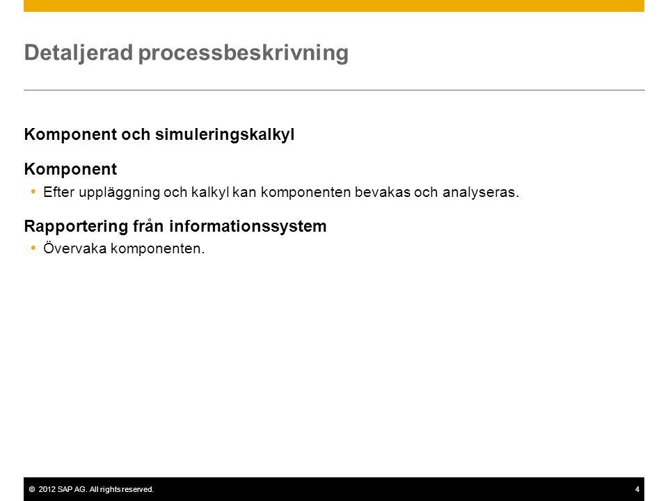 ©2012 SAP AG. All rights reserved.4 Detaljerad processbeskrivning Komponent och simuleringskalkyl Komponent  Efter uppläggning och kalkyl kan kompone