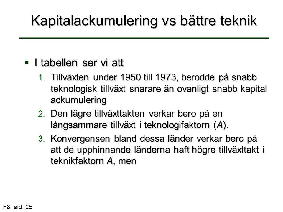 F8: sid. 25 Kapitalackumulering vs bättre teknik  I tabellen ser vi att 1. Tillväxten under 1950 till 1973, berodde på snabb teknologisk tillväxt sna
