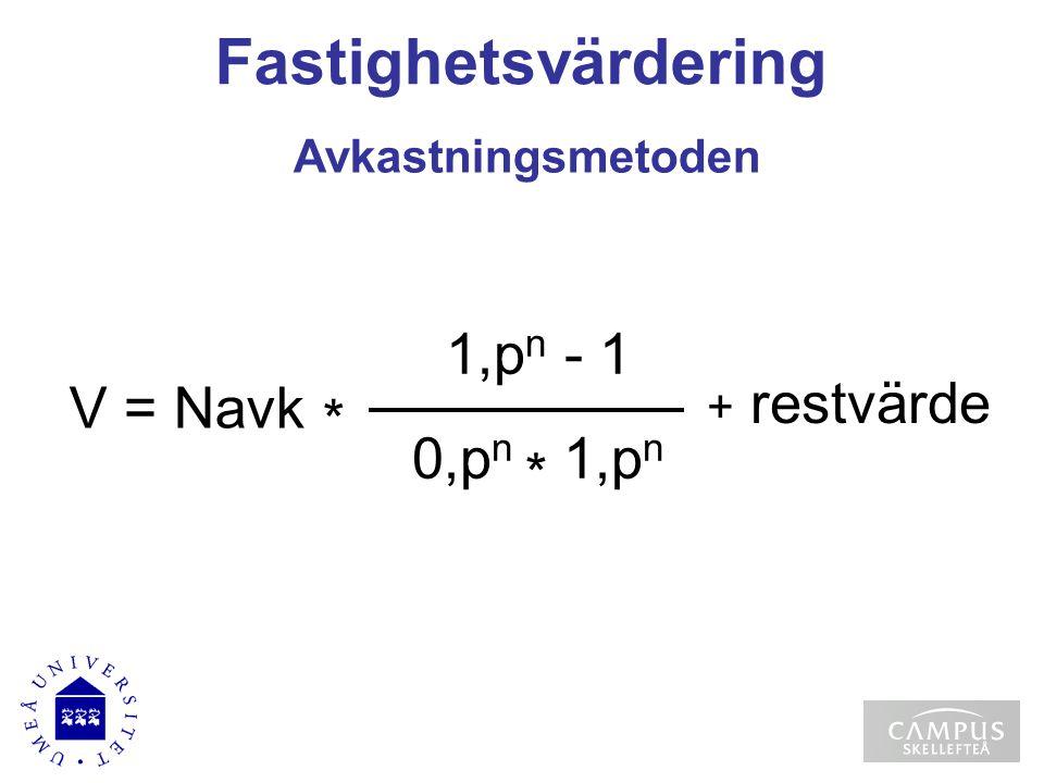 Fastighetsvärdering Avkastningsmetoden 1,p n - 1 0,p n * 1,p n V = Navk * + restvärde