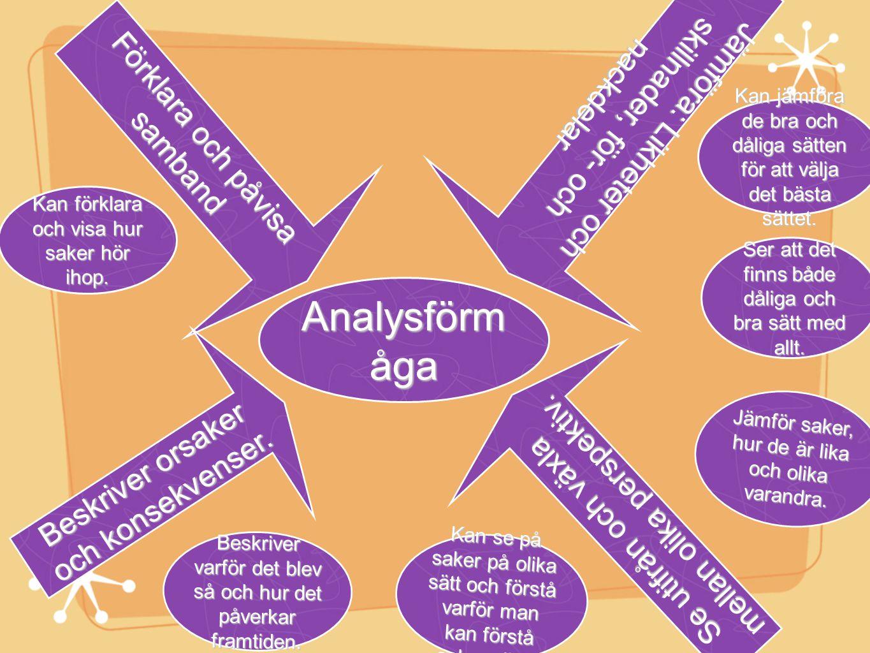 Analysförm åga Kan jämföra de bra och dåliga sätten för att välja det bästa sättet. Kan se på saker på olika sätt och förstå varför man kan förstå sak