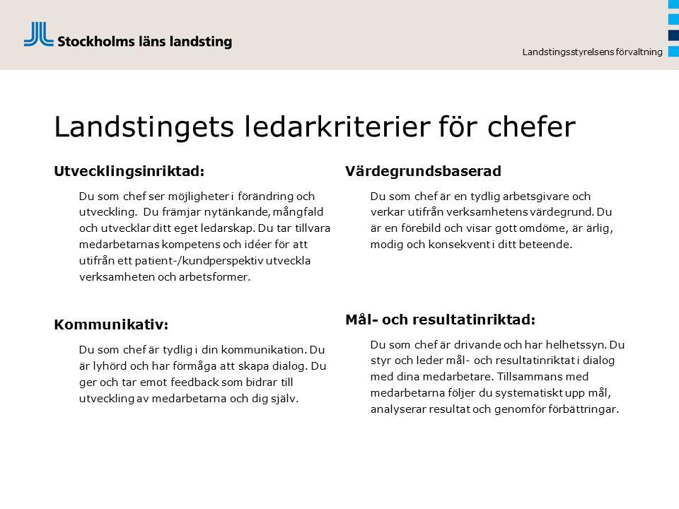 Chefsförsörjning Landstingsstyrelsens förvaltning Identifiera/ utvärdera RekryteraBehålla/ UtvecklaAvvecklaAttrahera Chefsförsörjning inom Stockholm läns landsting Attraktiv arbetsgivare Personalpolicy Chefsroll Ledarkriterier