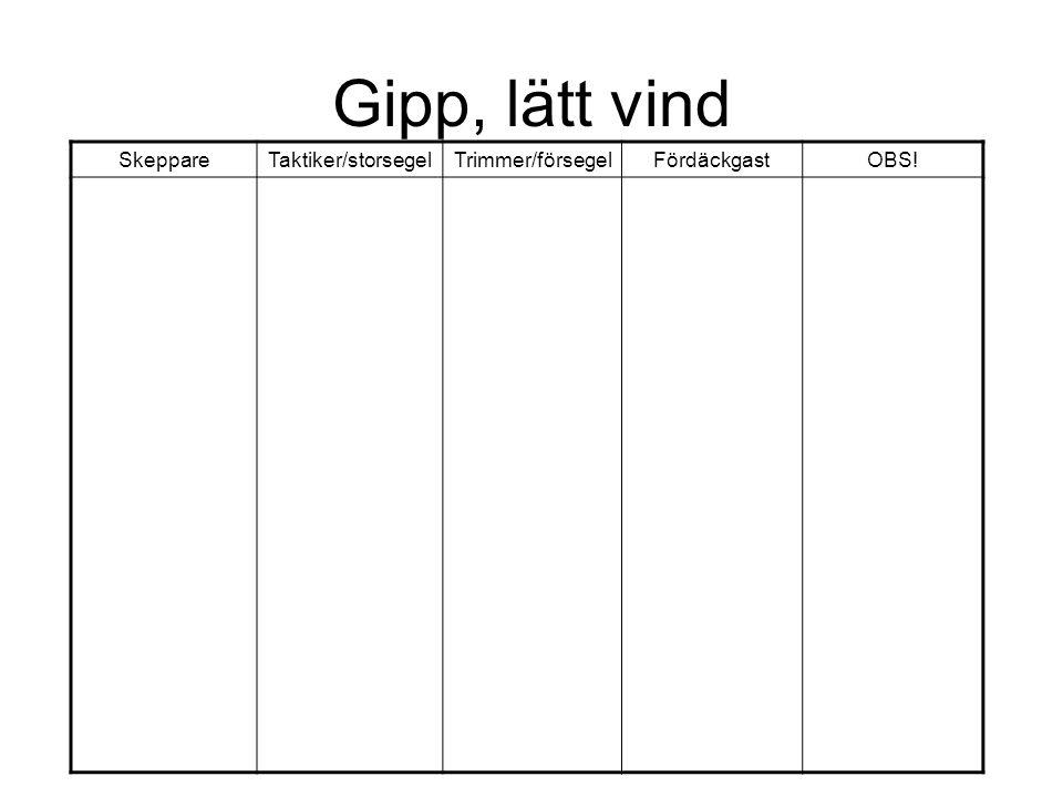 Gipp, lätt vind SkeppareTaktiker/storsegelTrimmer/försegelFördäckgastOBS!