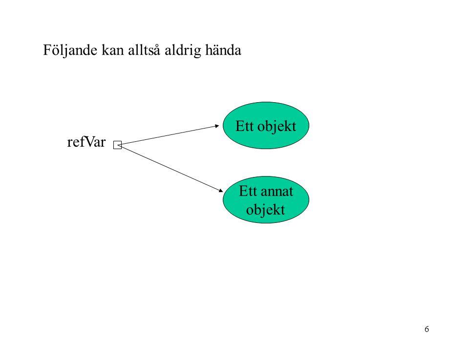 5 Referenser Alla variabler som används för att komma åt ett objekt är referenser.