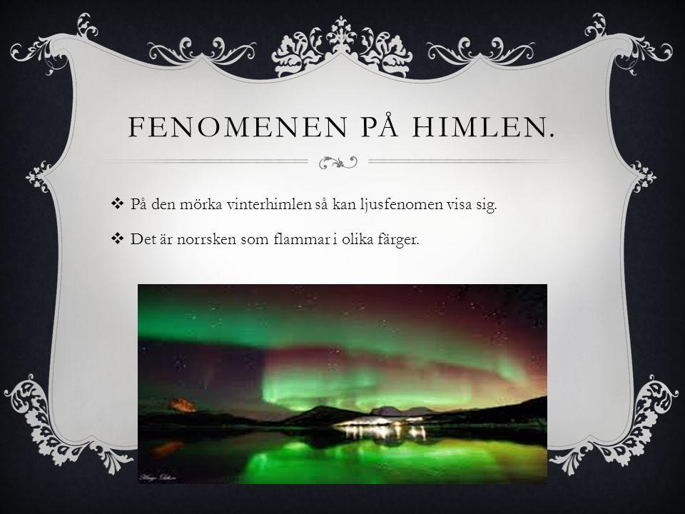 FENOMENEN PÅ HIMLEN.  På den mörka vinterhimlen så kan ljusfenomen visa sig.  Det är norrsken som flammar i olika färger.