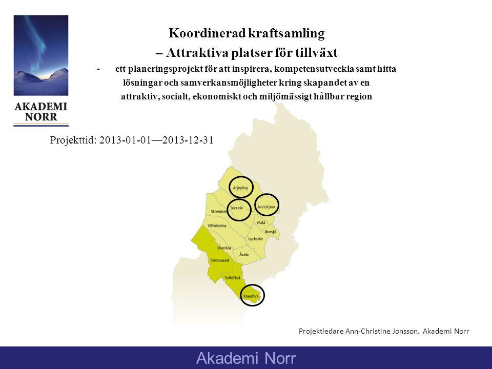 Koordinerad kraftsamling – Attraktiva platser för tillväxt -ett planeringsprojekt för att inspirera, kompetensutveckla samt hitta lösningar och samverkansmöjligheter kring skapandet av en attraktiv, socialt, ekonomiskt och miljömässigt hållbar region Projektledare Ann-Christine Jonsson, Akademi Norr Akademi Norr Projekttid: 2013-01-01—2013-12-31