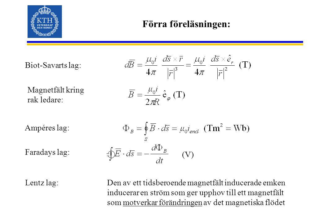 Förra föreläsningen: Biot-Savarts lag: Faradays lag: Lentz lag: Ampéres lag: (V) Den av ett tidsberoende magnetfält inducerade emken inducerar en strö