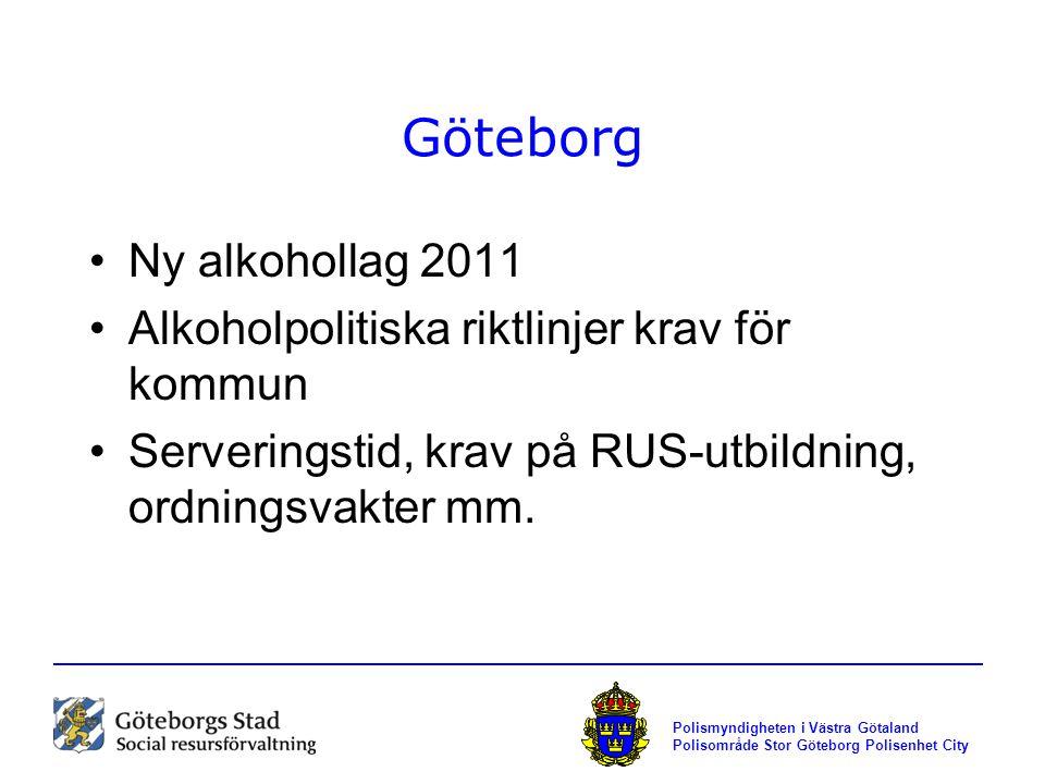 Polismyndigheten i Västra Götaland Polisområde Stor Göteborg Polisenhet City Göteborg Ny alkohollag 2011 Alkoholpolitiska riktlinjer krav för kommun S