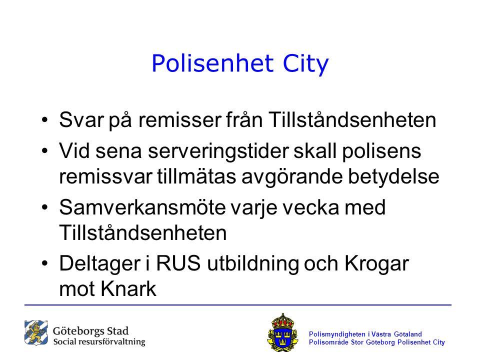 Polismyndigheten i Västra Götaland Polisområde Stor Göteborg Polisenhet City Polisenhet City Svar på remisser från Tillståndsenheten Vid sena serverin