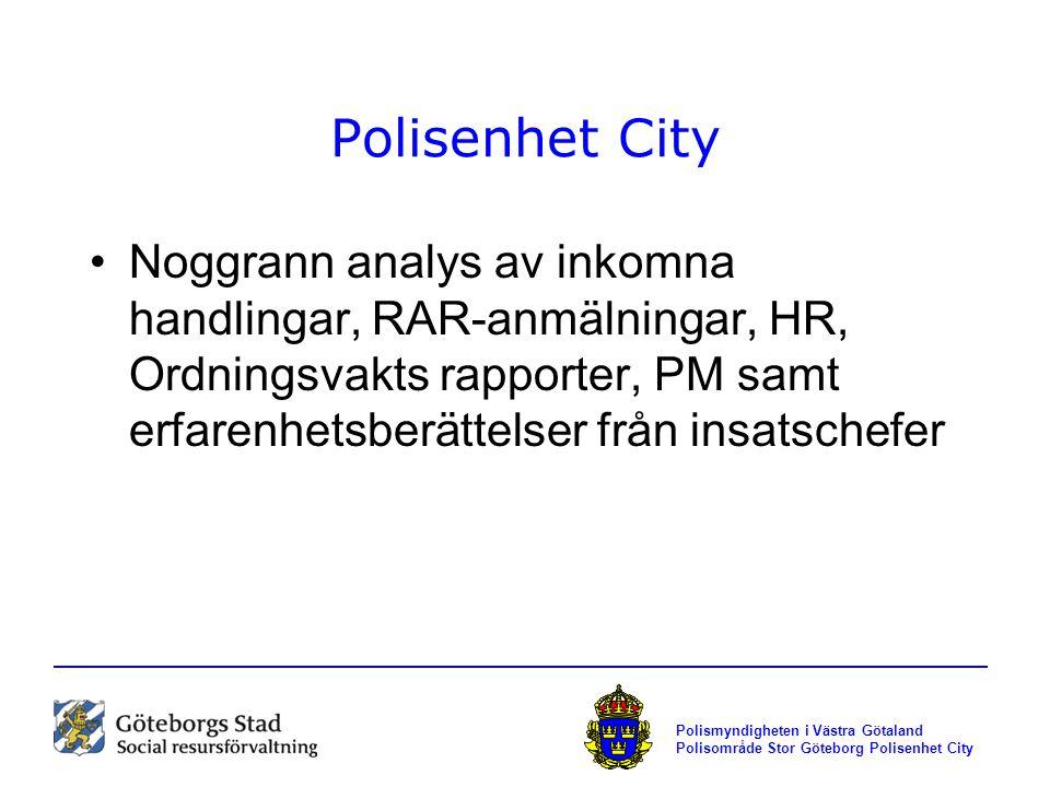 Polismyndigheten i Västra Götaland Polisområde Stor Göteborg Polisenhet City Polisenhet City Noggrann analys av inkomna handlingar, RAR-anmälningar, H